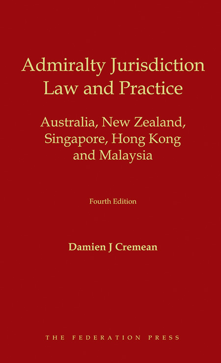 Book cover for Admiralty Jurisdiction: Law and Practice by Damien J Cremean. Yellow text on red background.