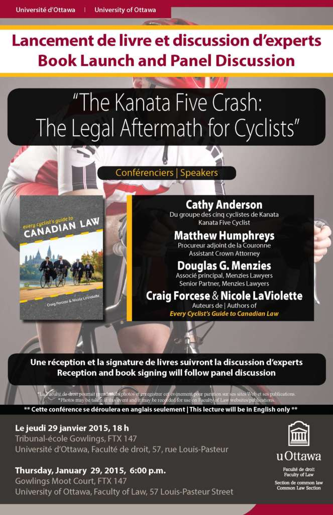 Poster with a cyclist in the background and information about the Every Cyclist's Guide to Canadian Law book launch in the foreground.