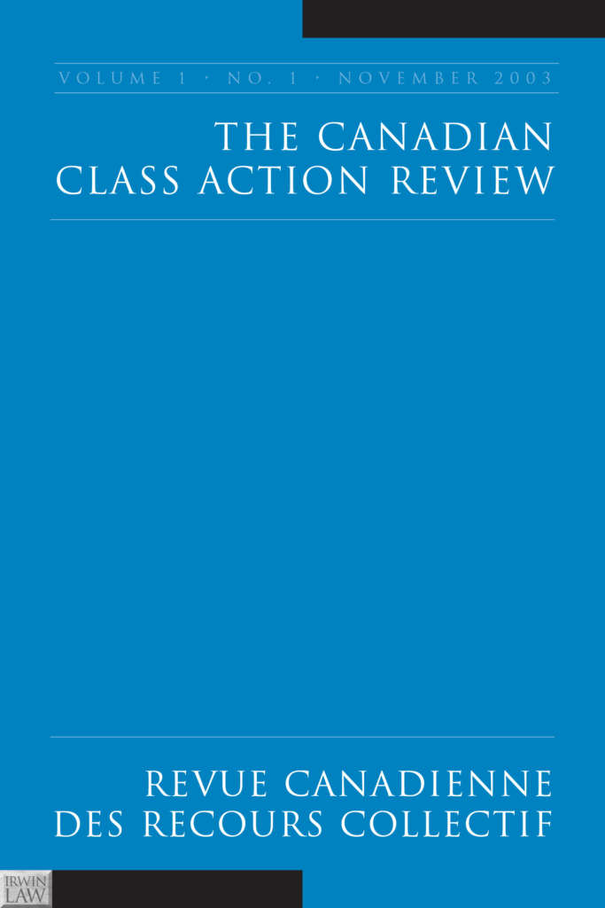 Cover for the Canadian Class Action Review/Revue canadienne des recours collectif. The cover is blue with the words in white in a serif font.