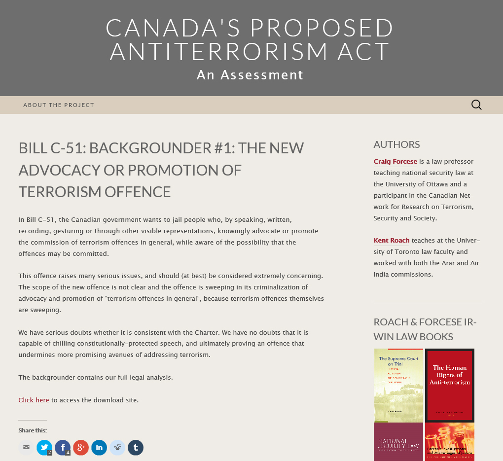 Screenshot of Craig Forcese and Kent Roach's new blog, Canada's Proposed Antiterrorism Act: An Assessment.