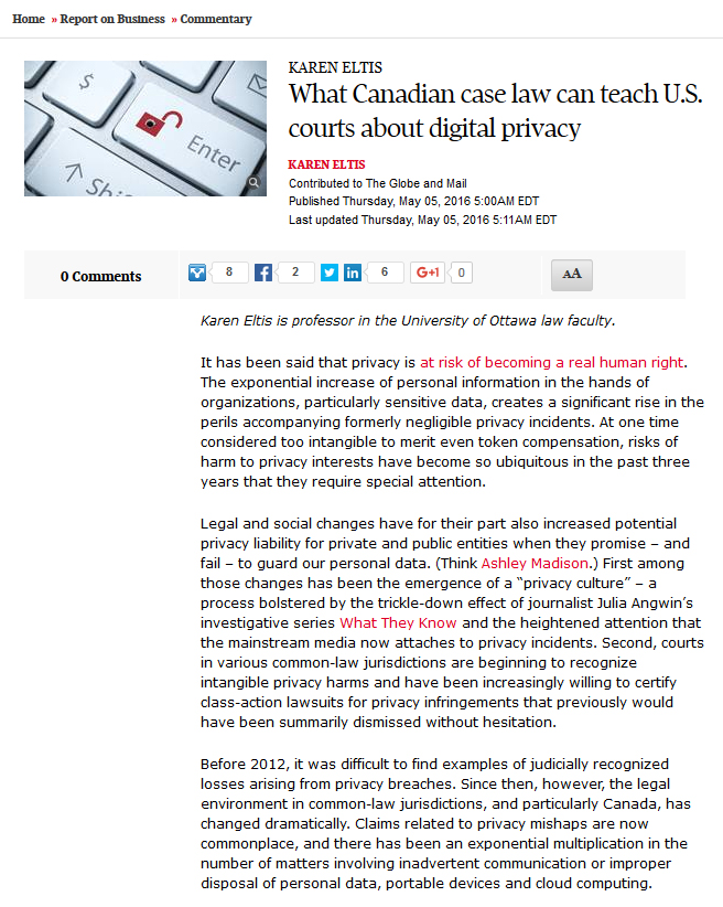"Screenshot of Karen Eltis's article, ""What Canadian case law can teach U.S. courts about digital privacy,"" on the Globe and Mail website."