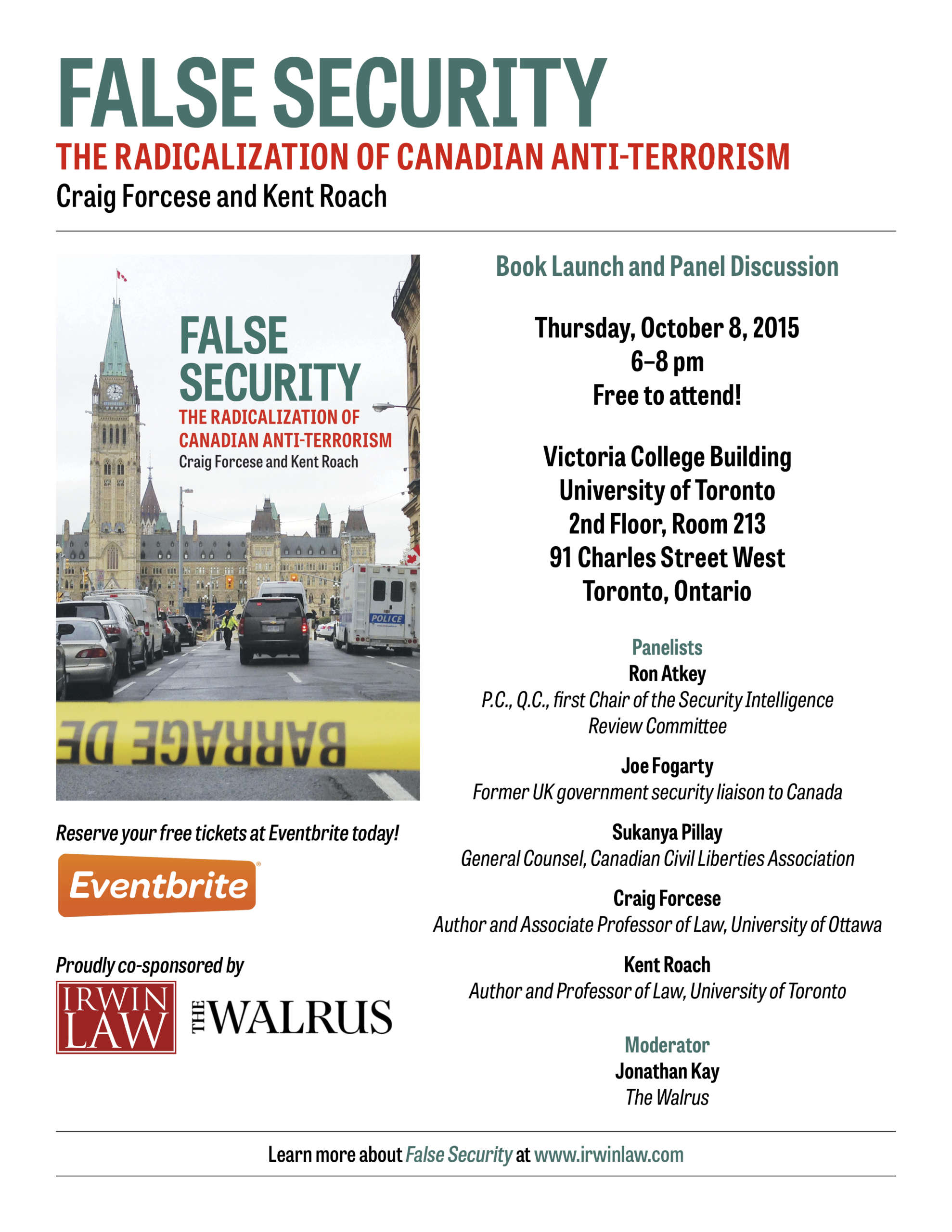 Poster showing details of False Security book launch and panel discussion.
