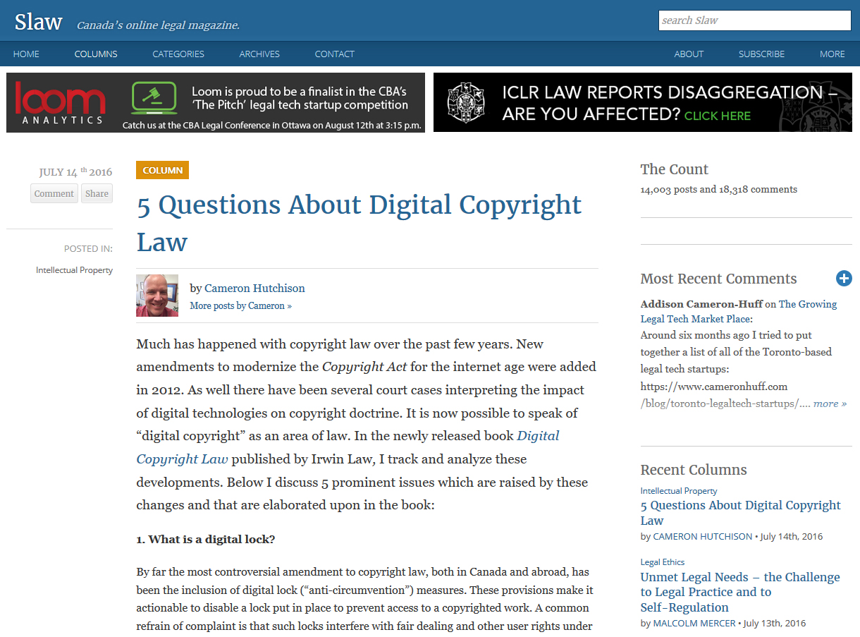 "Screenshot of Slaw website showing article ""5 Questions about Digital Copyright Law"" by Cameron Hutchison."
