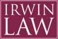 Logo for Irwin Law. The image shows the words 'Irwin Law' in block capital letters in a serif font, inside a rectangle border, on a burgundy background.
