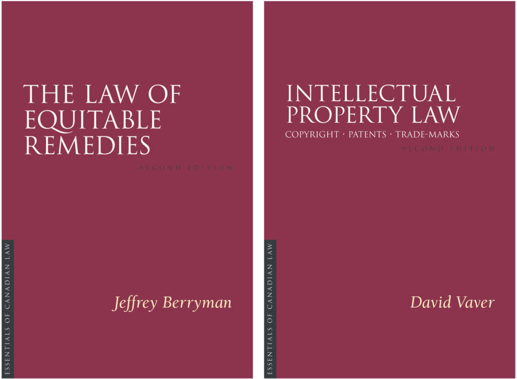 Book covers for Law of Equitable Remedies by Jeffrey Berryman and Intellectual Property Law by David Vaver.
