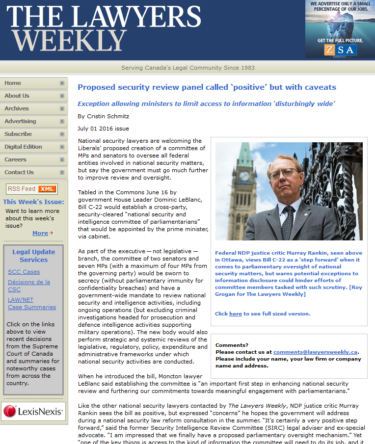 "Screenshot of the Lawyers' Weekly website, showing an article entitled ""Proposed security review panel called 'positive' but with caveats."""