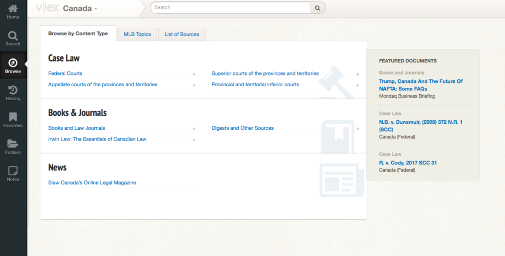 Screenshot of the Canadian Legal Bookshelf platform, showing a search tool and sections on Case Law, Books and Journals, and News.