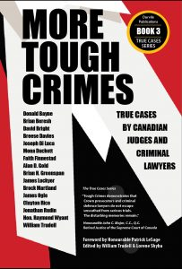 Book cover for More Tough Crimes by William Trudell and Lorene Shyba. The text is a bold, sans serif font on an abstract background of jagged white shapes on red and black.