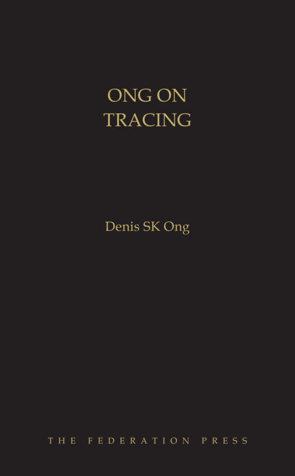 Book cover for Ong on Tracing by Denis SK Ong. Gold text on black background.
