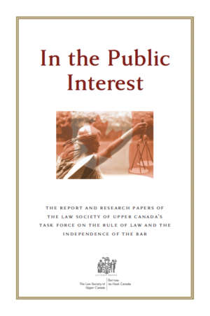 Book cover for In the Public Interest by the Law Society of Upper Canada. The cover shows a bronze border and an image of a statue holding the scales of justice, with a Canadian flag superimposed on top.