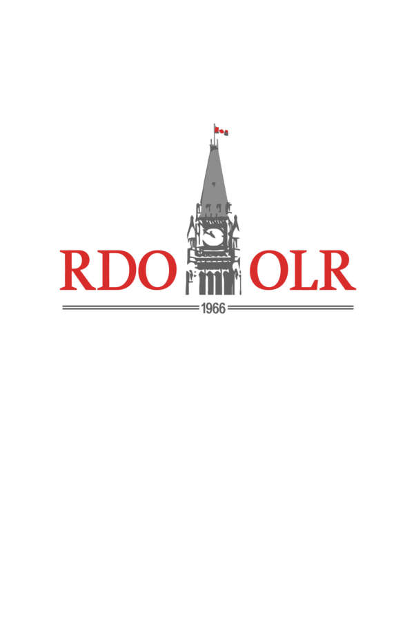 Logo for the Ottawa Law Review/La Revue de droit d'Ottawa. It shows a stylized version of the Parliament building, with the letters RDO on the left and OLR on the right, and the year 1966 below.