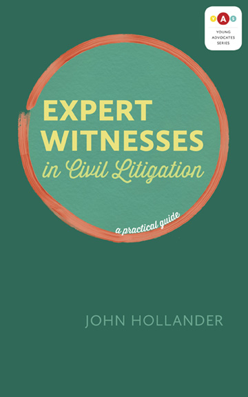 Book cover for Expert Witnesses in Civil Litigation, by John Hollander. The cover is predominantly green, with the title in contemporary yellow font inside a hand-drawn red circle.