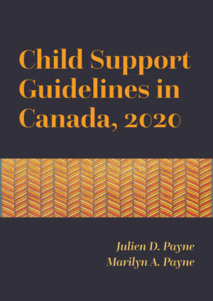 Book cover for Child Support Guidelines in Canada, 2020 by Julien D. Payne and Marilyn A. Payne. The text is a golden colour with a contemporary serif font on a dark purple background, with a piece of gold and red geometric art in the centre.