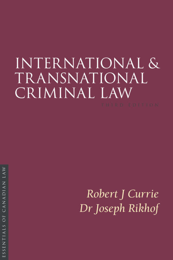 Book cover for Criminal Law, third edition, by Kent Roach. The cover is a solid burgundy colour with a simple type treatment in capital serif letters in white.