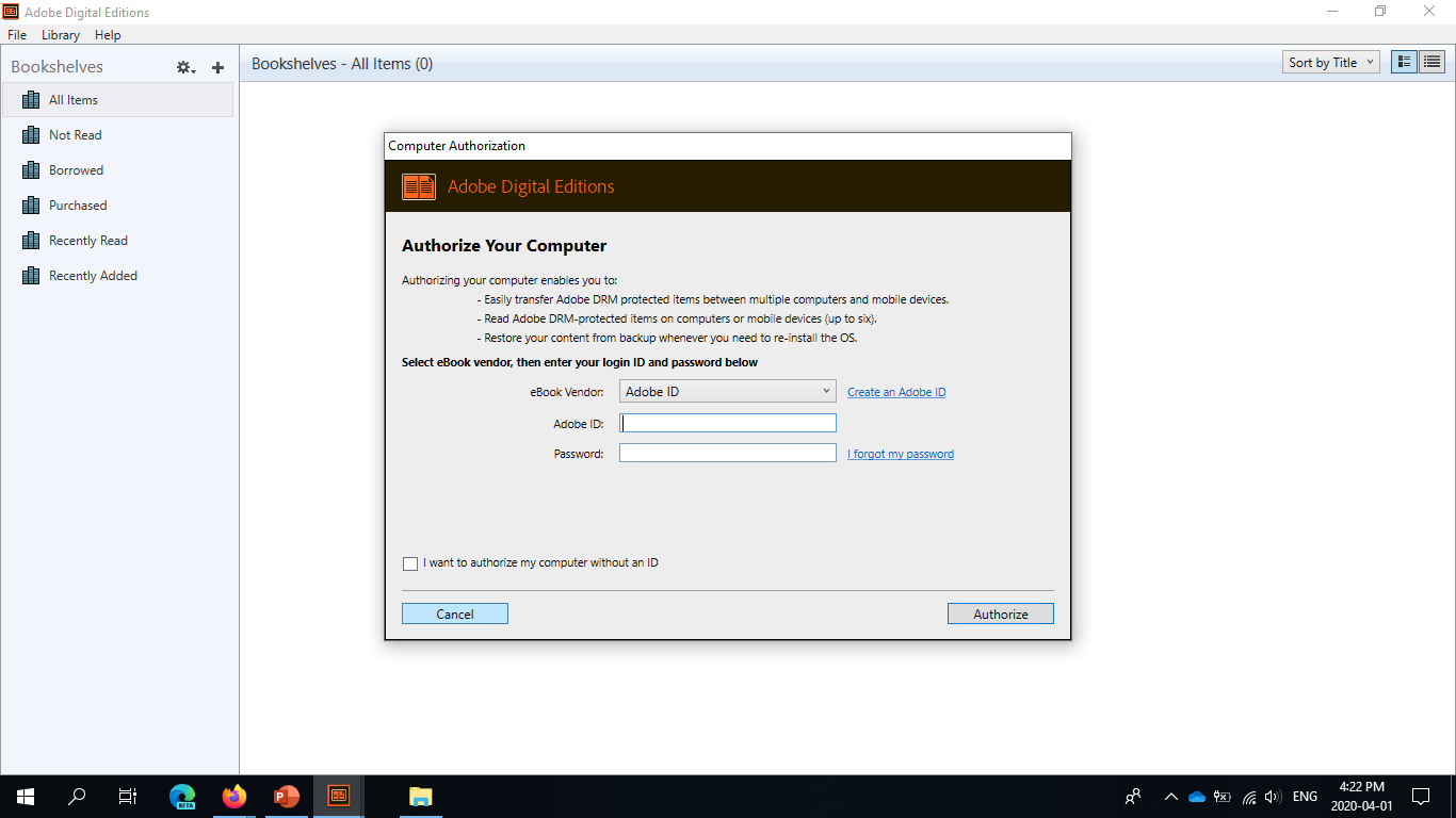 Adobe Digital Editions computer authorization screen.