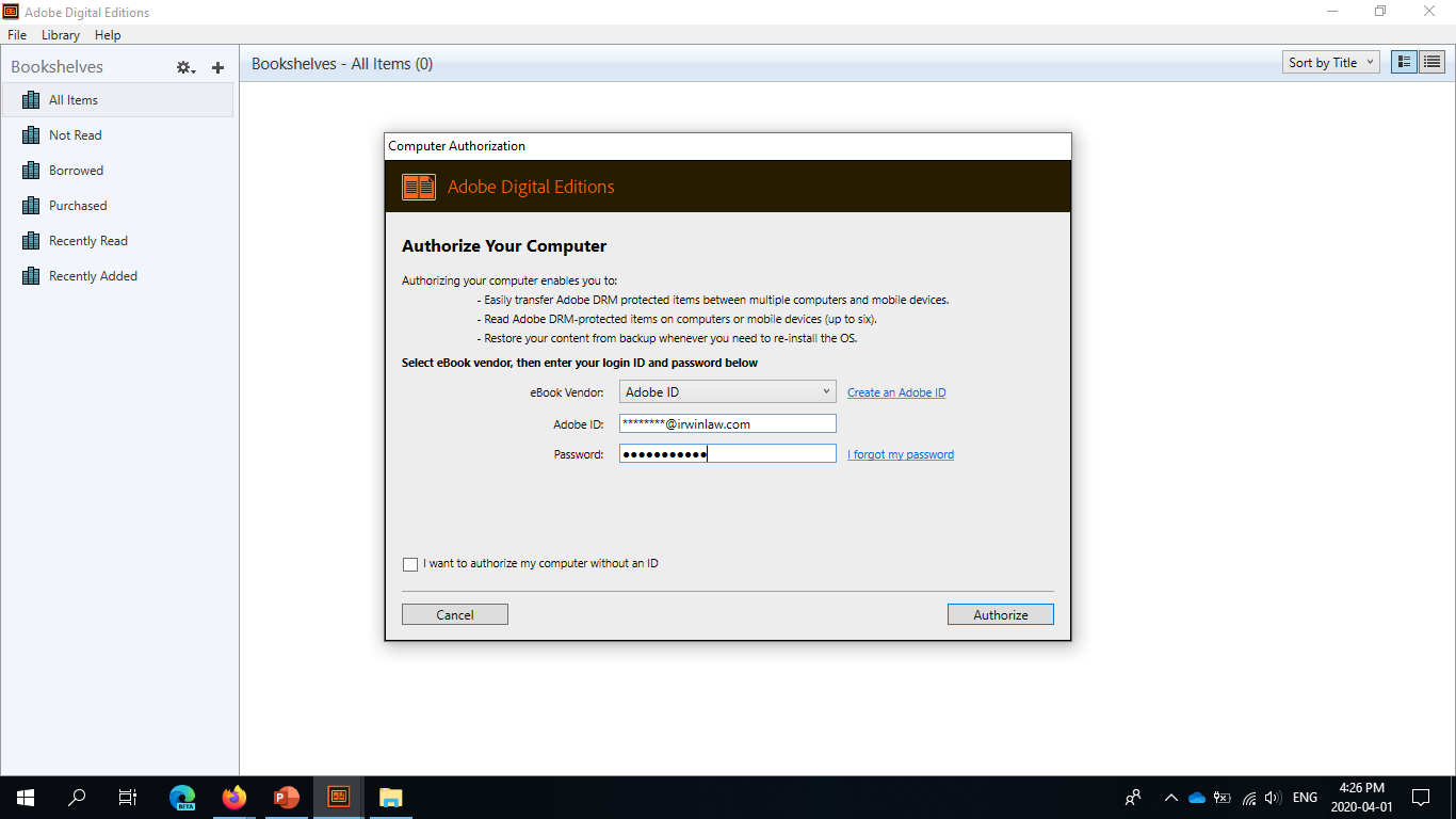 Adobe Digital Editions authorization screen filled with account credentials.