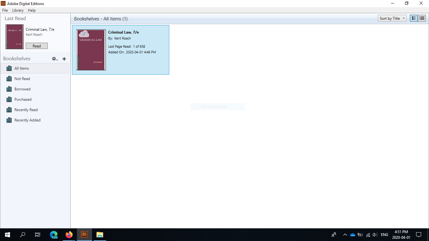 Adobe Digital Editions screen showing e-book successfully downloaded.