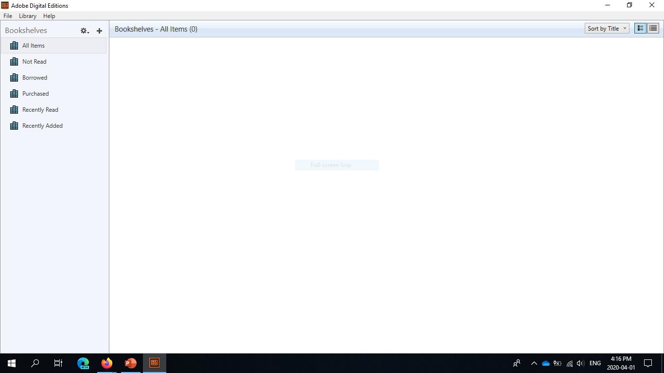Adobe Digital Editions home screen