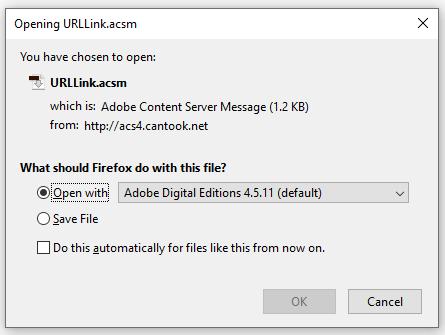 E-book open file dialog box.