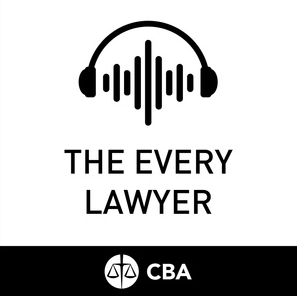 Logo for the Every Lawyer podcast. The logo shows a pair of headphones surrounding a sound wave pattern. The logo for the Canadian Bar Association is underneath.