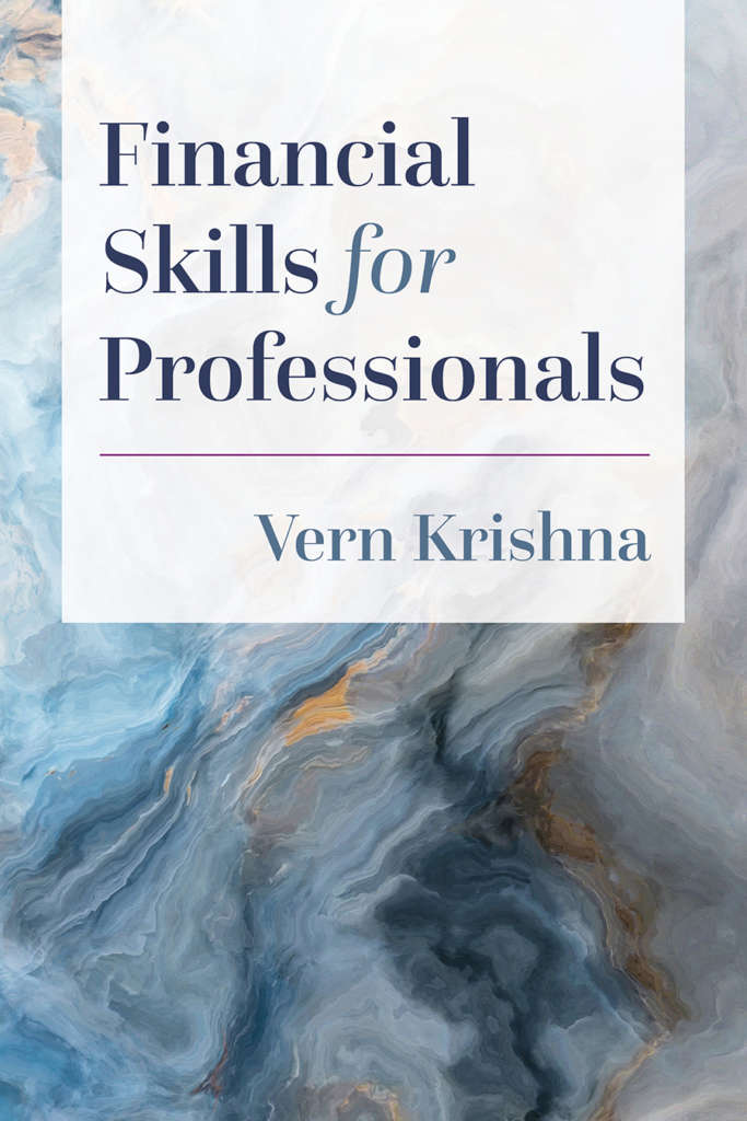 Book cover for Financial Skills for Professionals by Vern Krishna. The cover is a contemporary design showing an abstract, predominantly blue painting background and an elegant type treatment in a serif font.