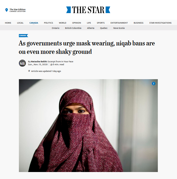 "Screenshot of the Toronto Star online article featuring In Your Face. The headline reads ""As governments urge mask wearing, niqab bans are on even more shaky ground"" and features a photo of a woman wearing a niqab."