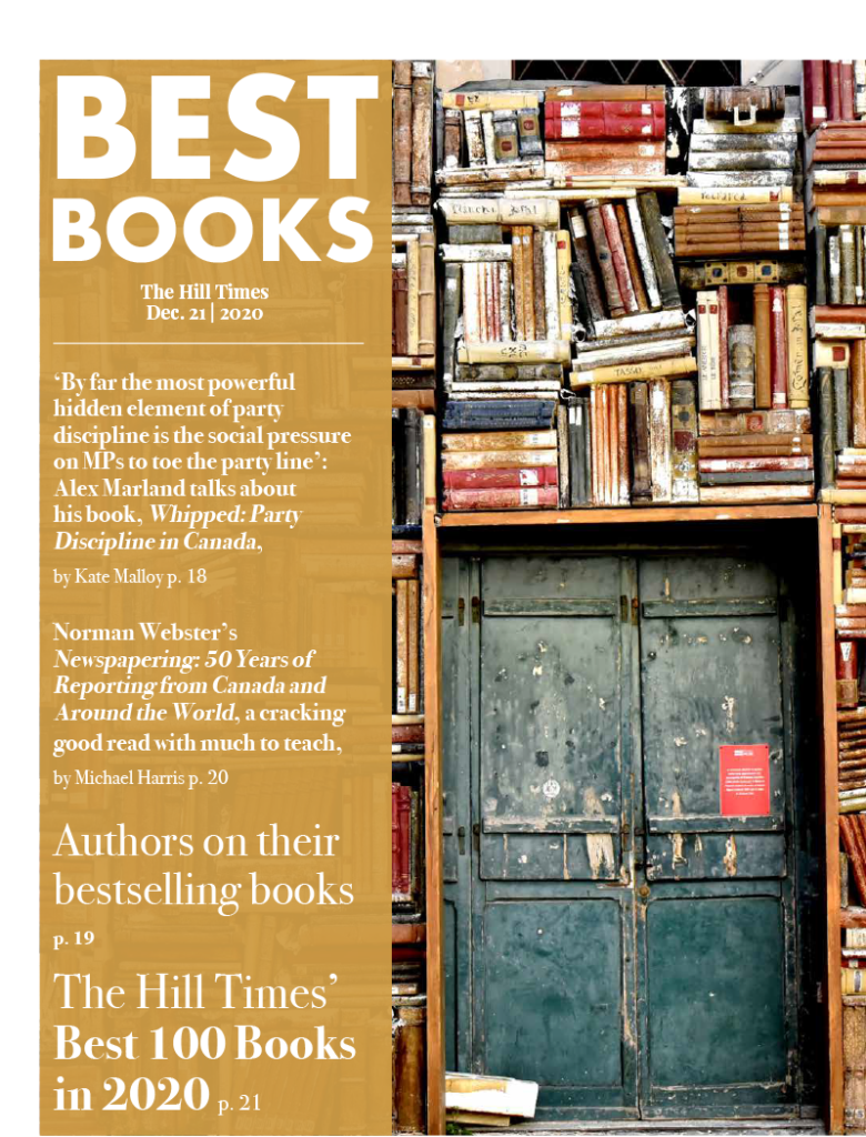 Graphic for the Hills Times' best 100 books of 2020, featuring antique books in a rustic store room.