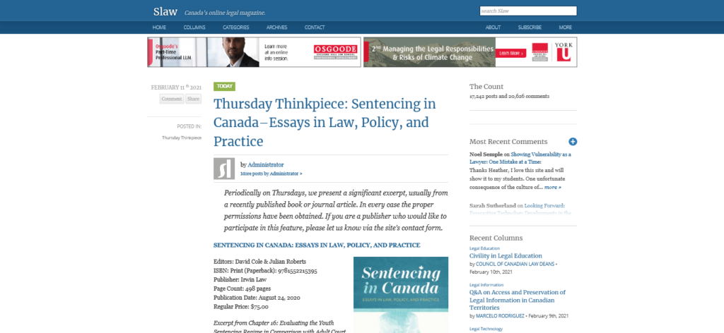 Screenshot of slaw.ca website, containing a featured exerpt of Sentencing in Canada by David Cole and Julian Roberts.