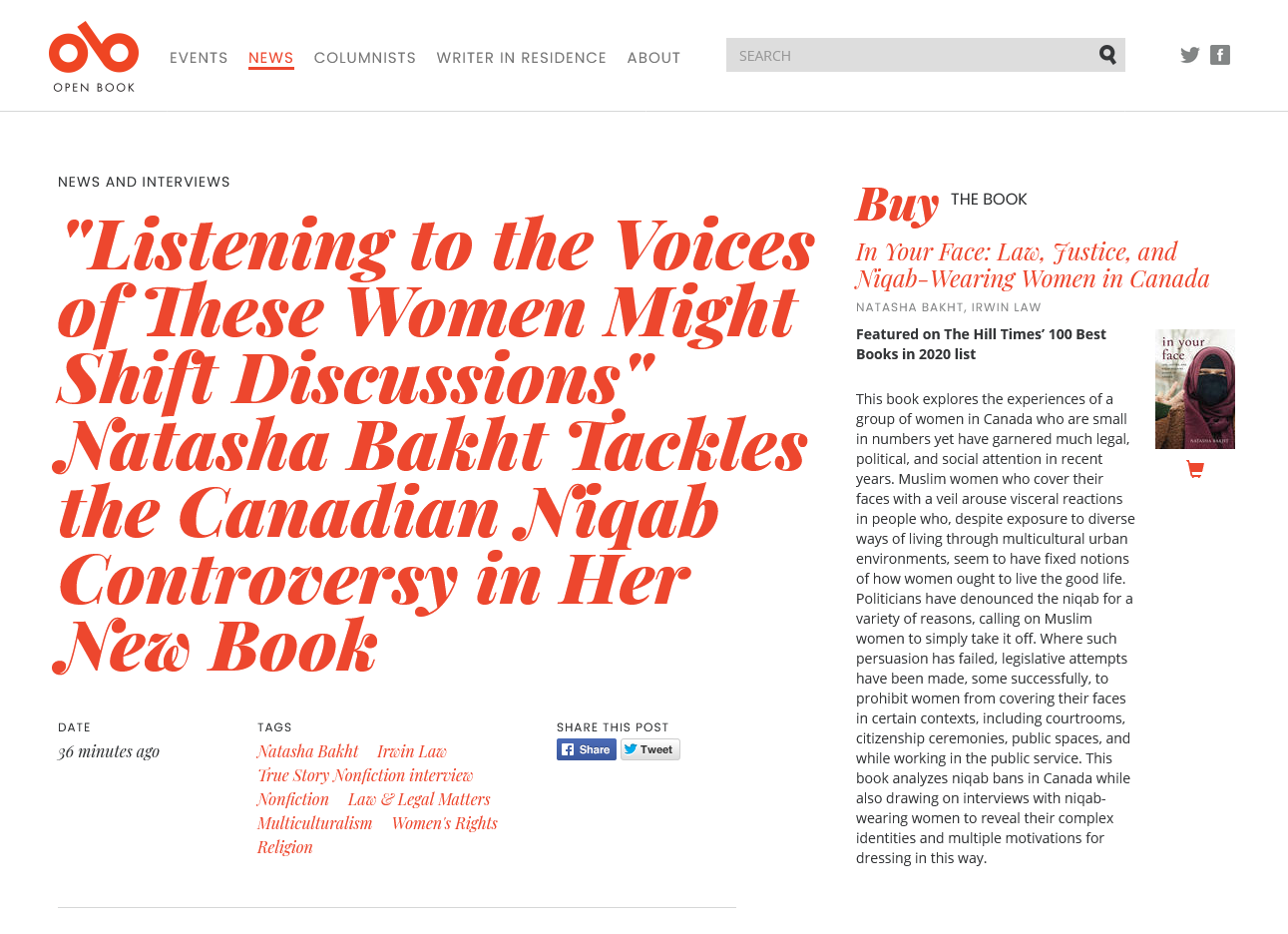 Screenshot of an interview with Natasha Bakht on the Open Book website.