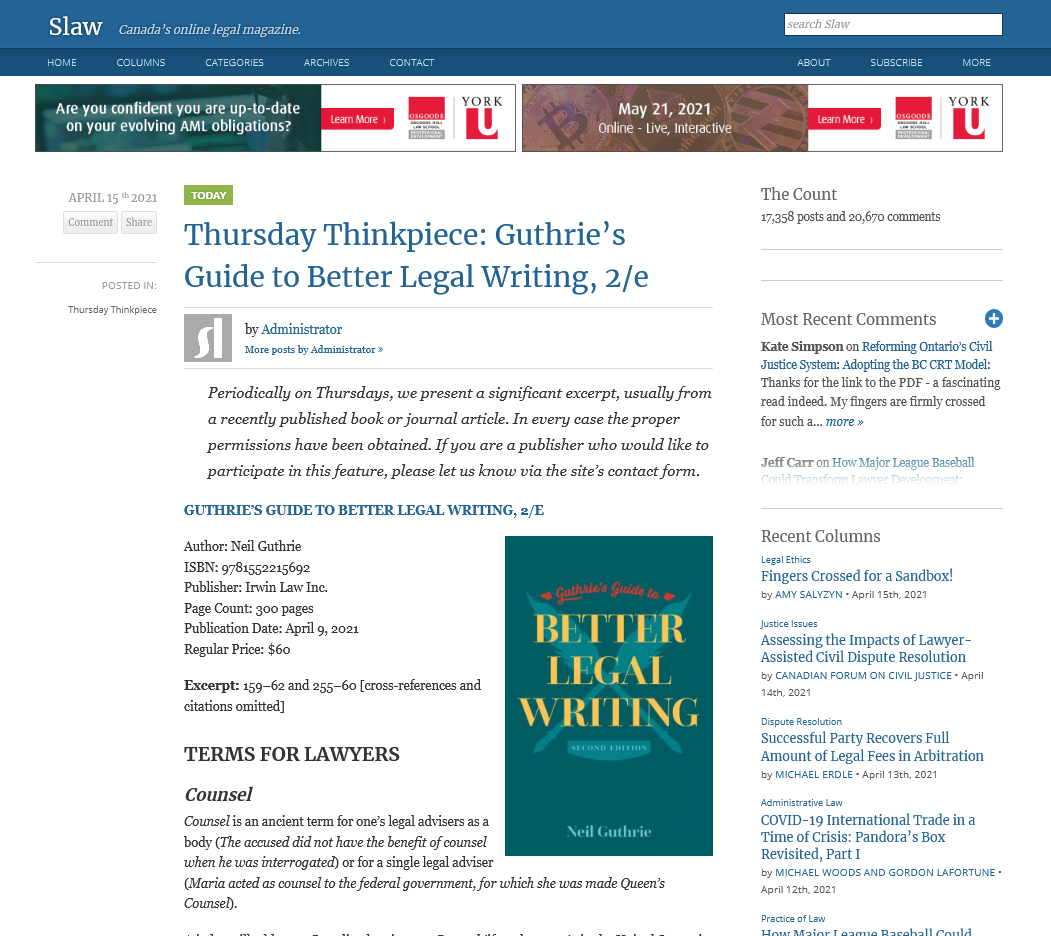 Screenshot of Slaw.ca featuring a Thursday Thinkpiece on Guthries Guide to Legal Writing, second edition, by Neil Guthrie.