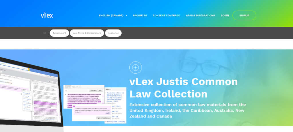 Screenshot of vLex Justis website, showing a computer monitor and online research tools.