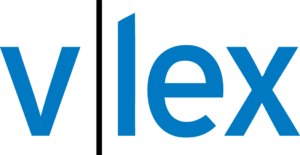 Logo for vLex, with lowercase letters in blue in a sans serif font.