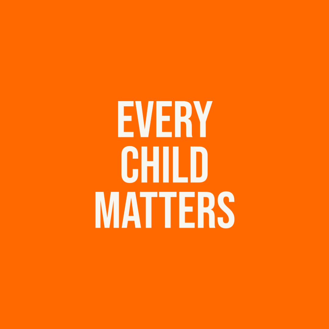 """Graphic reading """"Every child matters"""" in white text on an orange background."""