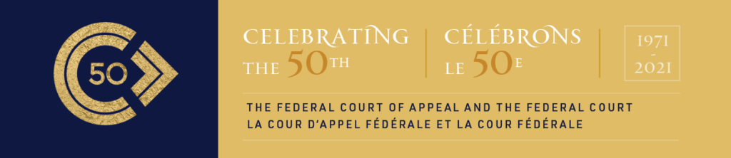 Banner showing a logo for the 50th anniversary of the Federal Court of Appeal and the Federal Court, in blue and gold.